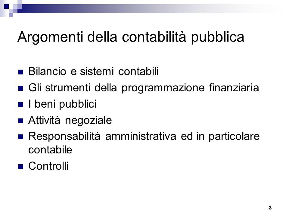 3 Argomenti della contabilità pubblica Bilancio e sistemi contabili Gli strumenti della programmazione finanziaria I beni pubblici Attività negoziale