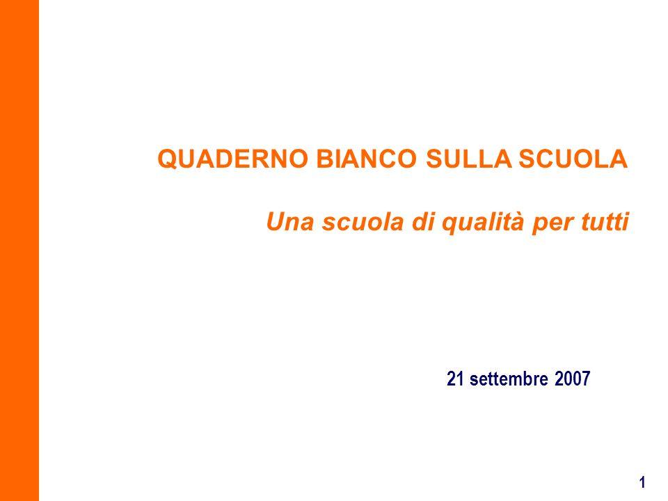 1 21 settembre 2007 QUADERNO BIANCO SULLA SCUOLA Una scuola di qualità per tutti
