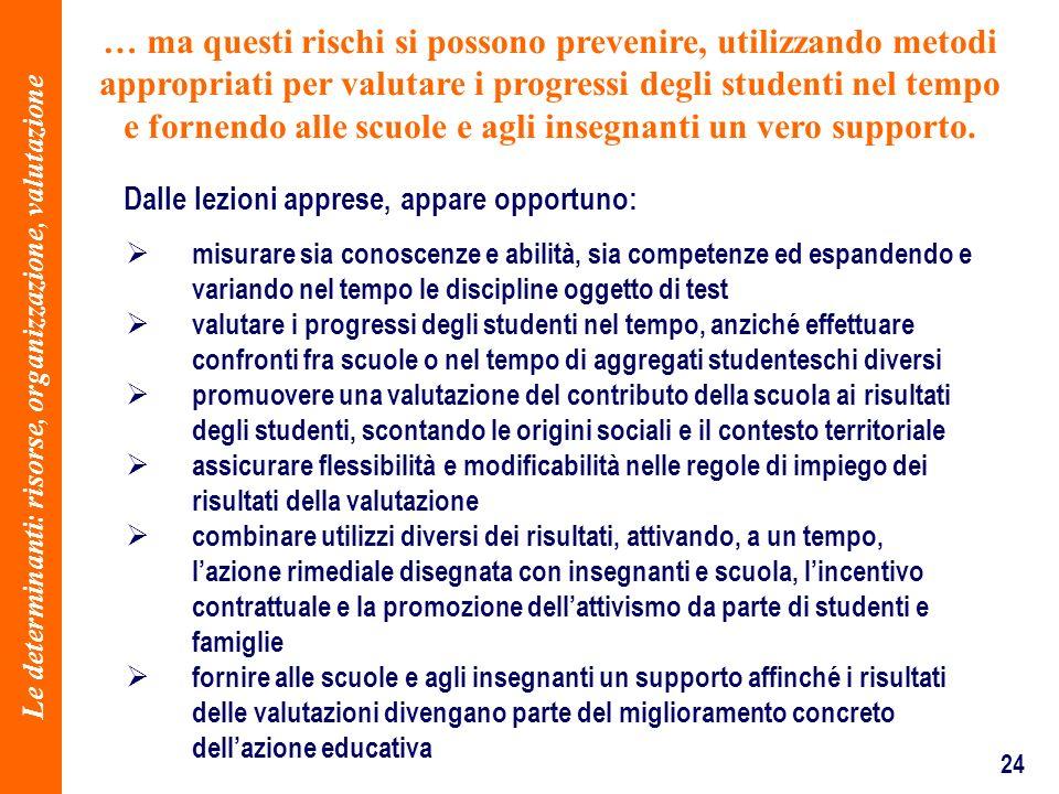 24 … ma questi rischi si possono prevenire, utilizzando metodi appropriati per valutare i progressi degli studenti nel tempo e fornendo alle scuole e
