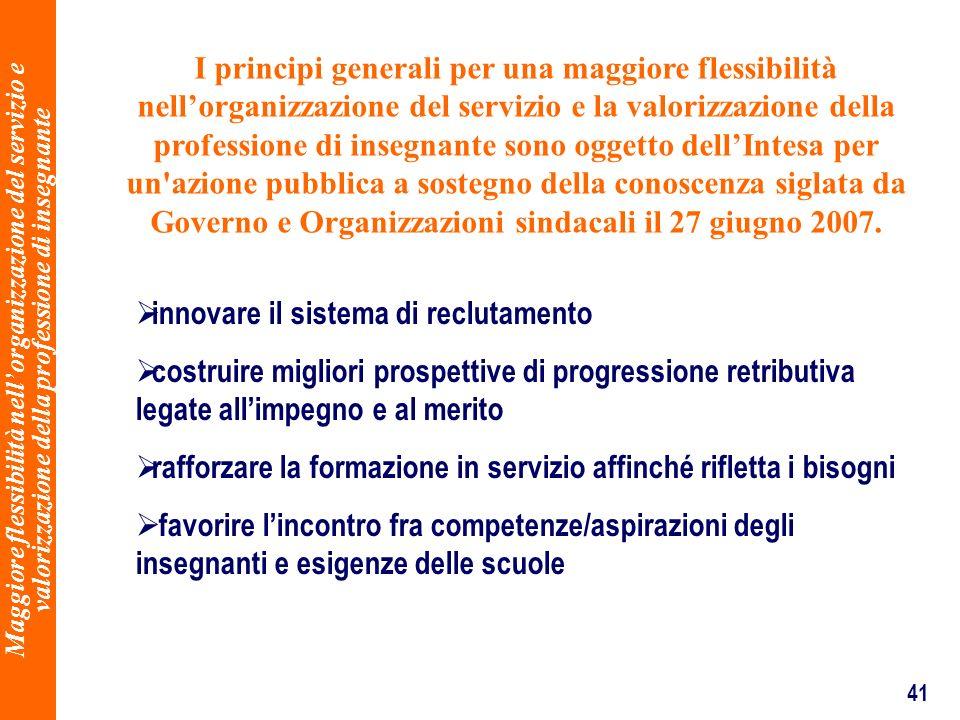 41 Maggiore flessibilità nellorganizzazione del servizio e valorizzazione della professione di insegnante I principi generali per una maggiore flessib