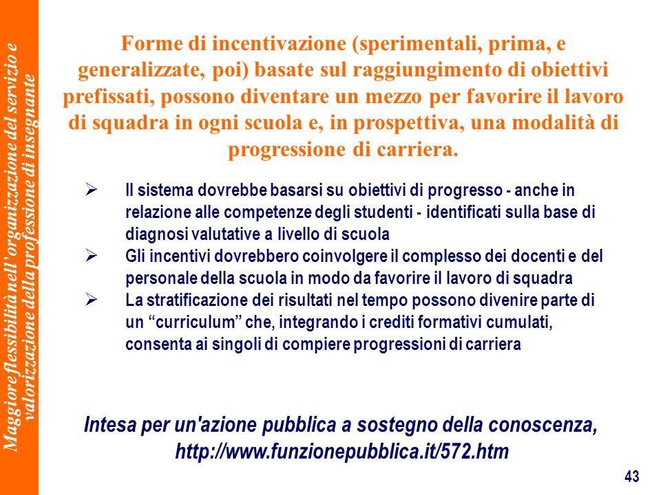 43 Forme di incentivazione (sperimentali, prima, e generalizzate, poi) basate sul raggiungimento di obiettivi prefissati, possono diventare un mezzo p
