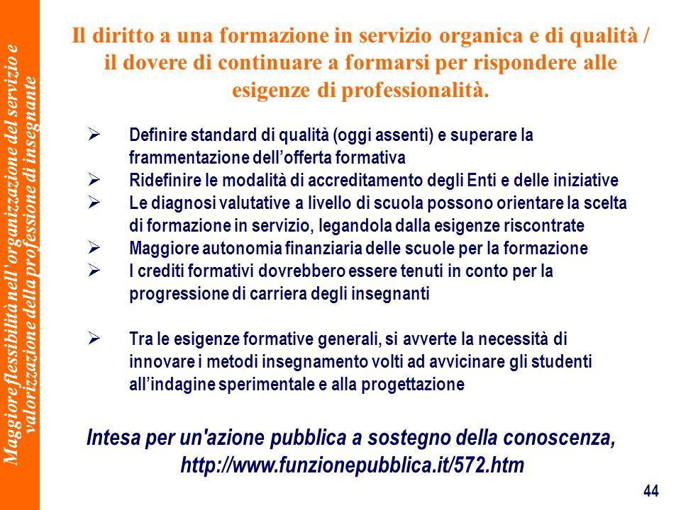 44 Il diritto a una formazione in servizio organica e di qualità / il dovere di continuare a formarsi per rispondere alle esigenze di professionalità.