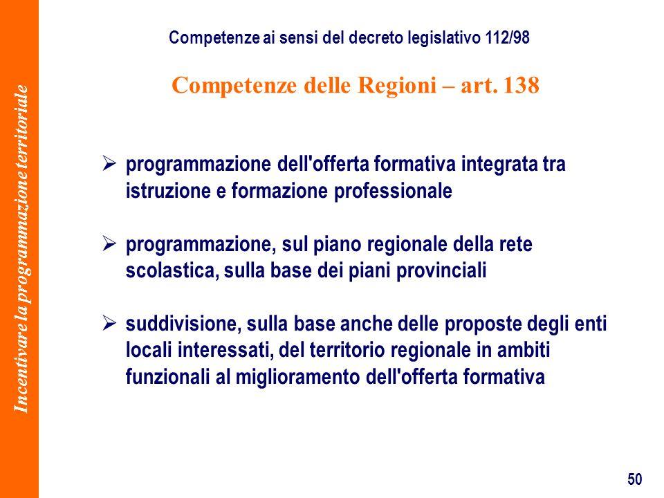 50 Competenze delle Regioni – art. 138 Competenze ai sensi del decreto legislativo 112/98 programmazione dell'offerta formativa integrata tra istruzio