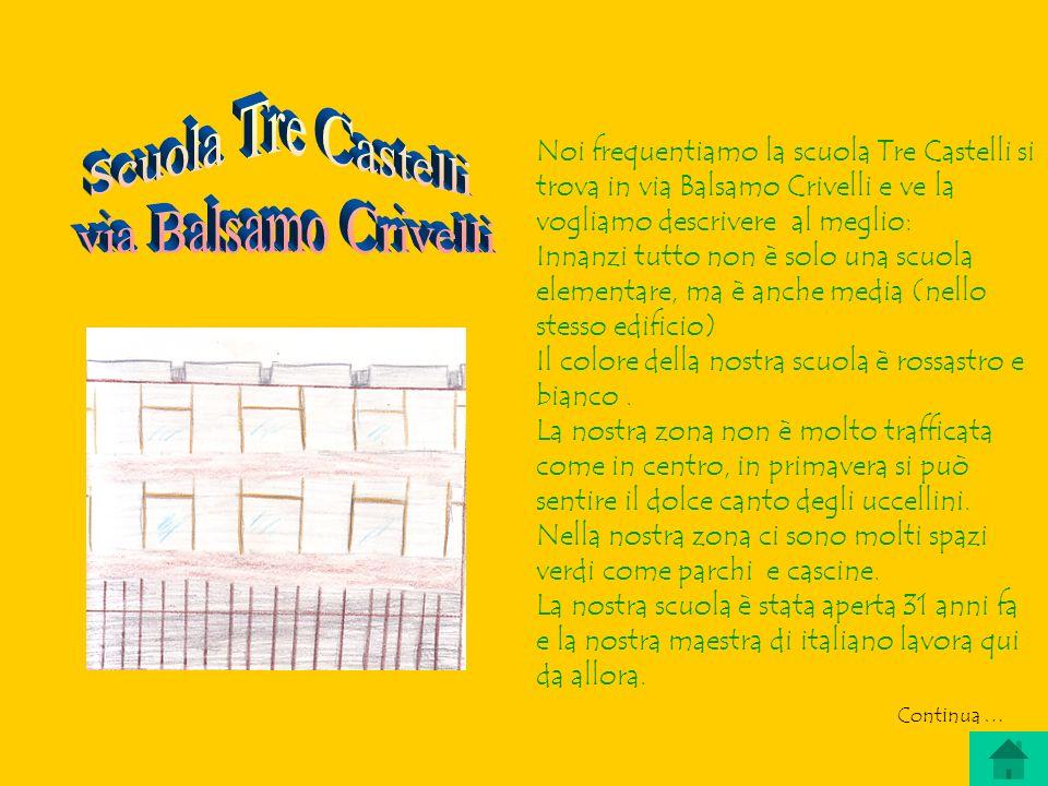 Noi frequentiamo la scuola Tre Castelli si trova in via Balsamo Crivelli e ve la vogliamo descrivere al meglio: Innanzi tutto non è solo una scuola elementare, ma è anche media (nello stesso edificio) Il colore della nostra scuola è rossastro e bianco.