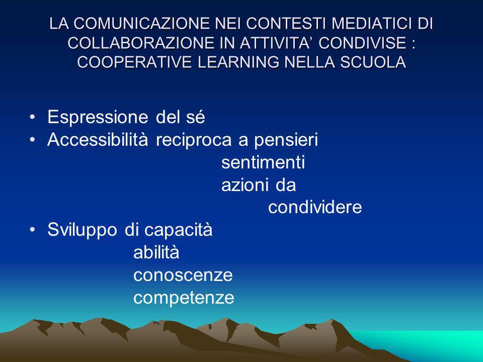 LA COMUNICAZIONE NEI CONTESTI MEDIATICI DI COLLABORAZIONE IN ATTIVITA CONDIVISE : COOPERATIVE LEARNING NELLA SCUOLA Espressione del sé Accessibilità r