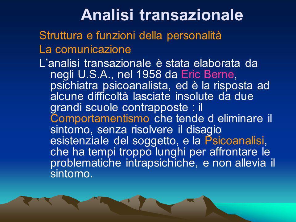 Analisi transazionale Struttura e funzioni della personalità La comunicazione Lanalisi transazionale è stata elaborata da negli U.S.A., nel 1958 da Er