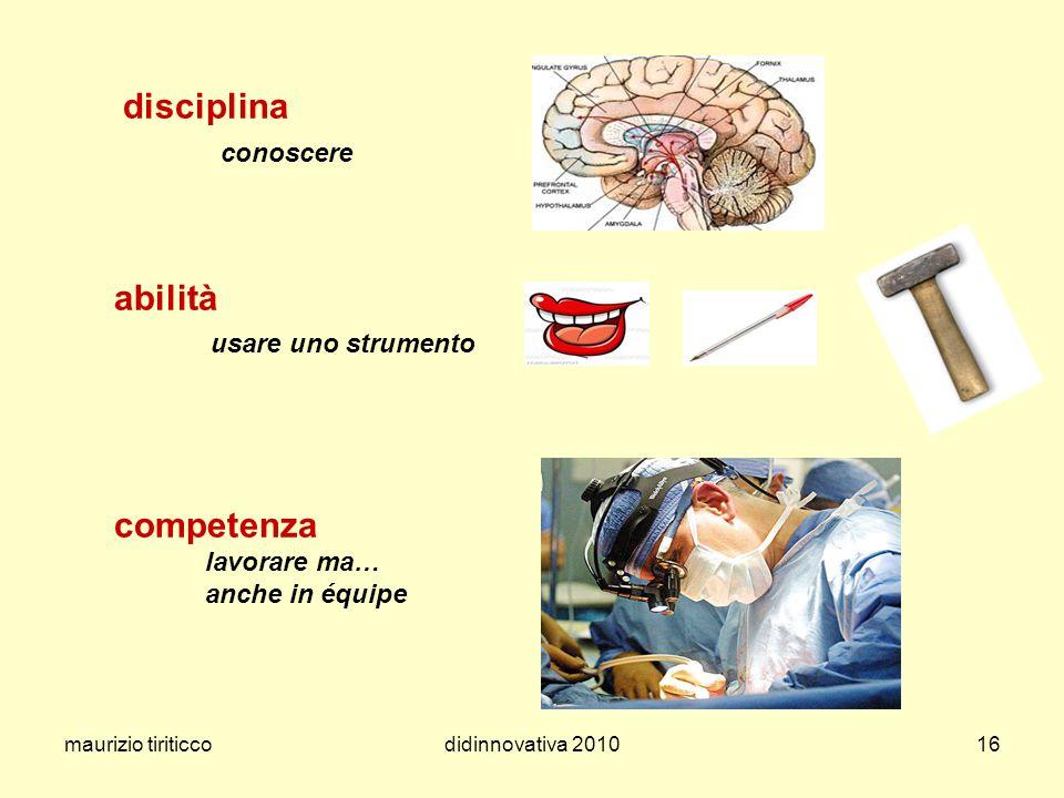 maurizio tiriticcodidinnovativa 201016 disciplina conoscere abilità usare uno strumento competenza lavorare ma… anche in équipe