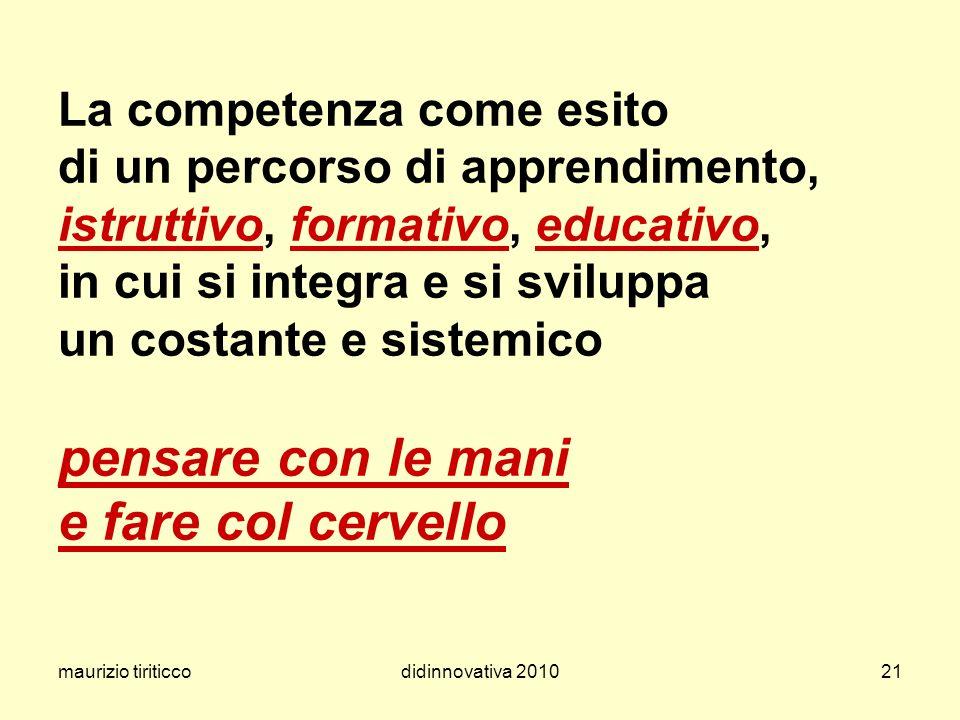 maurizio tiriticcodidinnovativa 201021 La competenza come esito di un percorso di apprendimento, istruttivo, formativo, educativo, in cui si integra e