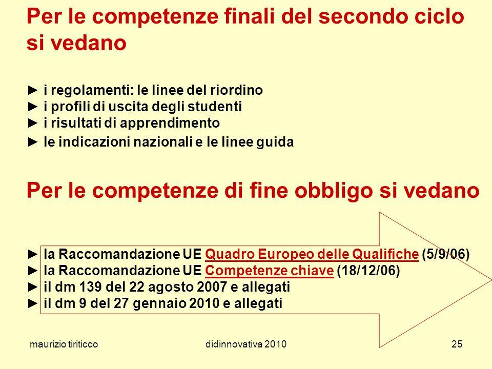 maurizio tiriticcodidinnovativa 201025 Per le competenze finali del secondo ciclo si vedano i regolamenti: le linee del riordino i profili di uscita d