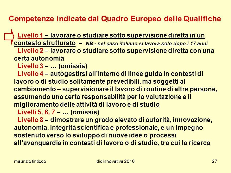 maurizio tiriticcodidinnovativa 201027 Competenze indicate dal Quadro Europeo delle Qualifiche Livello 1 – lavorare o studiare sotto supervisione dire
