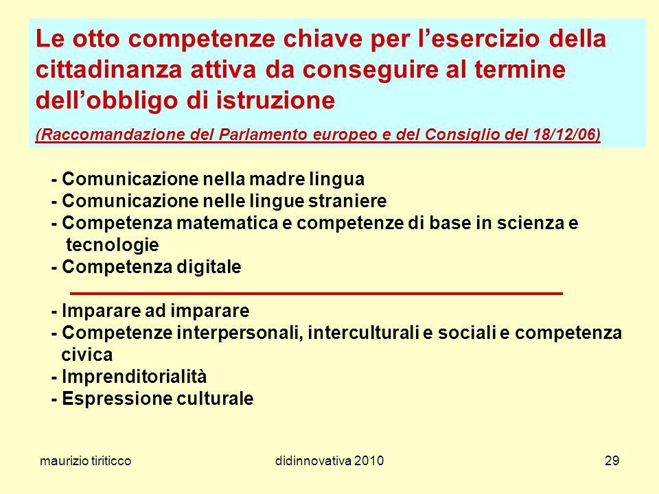 maurizio tiriticcodidinnovativa 201029 Le otto competenze chiave per lesercizio della cittadinanza attiva da conseguire al termine dellobbligo di istr