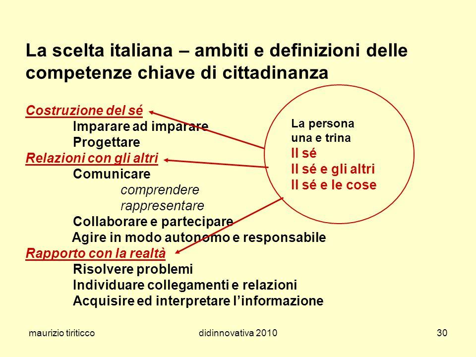 maurizio tiriticcodidinnovativa 201030 La scelta italiana – ambiti e definizioni delle competenze chiave di cittadinanza Costruzione del sé Imparare a