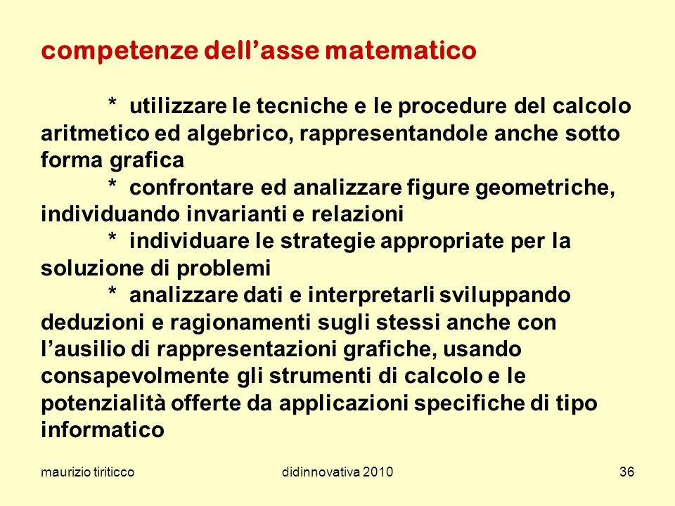 maurizio tiriticcodidinnovativa 201036 competenze dellasse matematico * utilizzare le tecniche e le procedure del calcolo aritmetico ed algebrico, rap