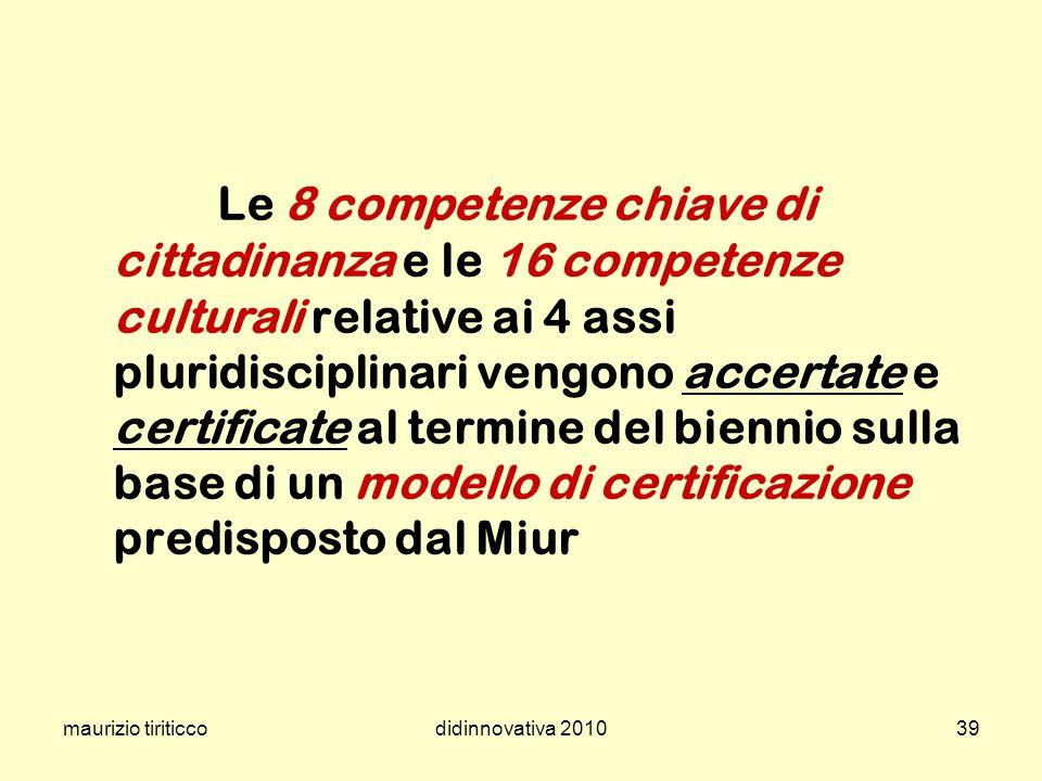 maurizio tiriticcodidinnovativa 201039 Le 8 competenze chiave di cittadinanza e le 16 competenze culturali relative ai 4 assi pluridisciplinari vengon