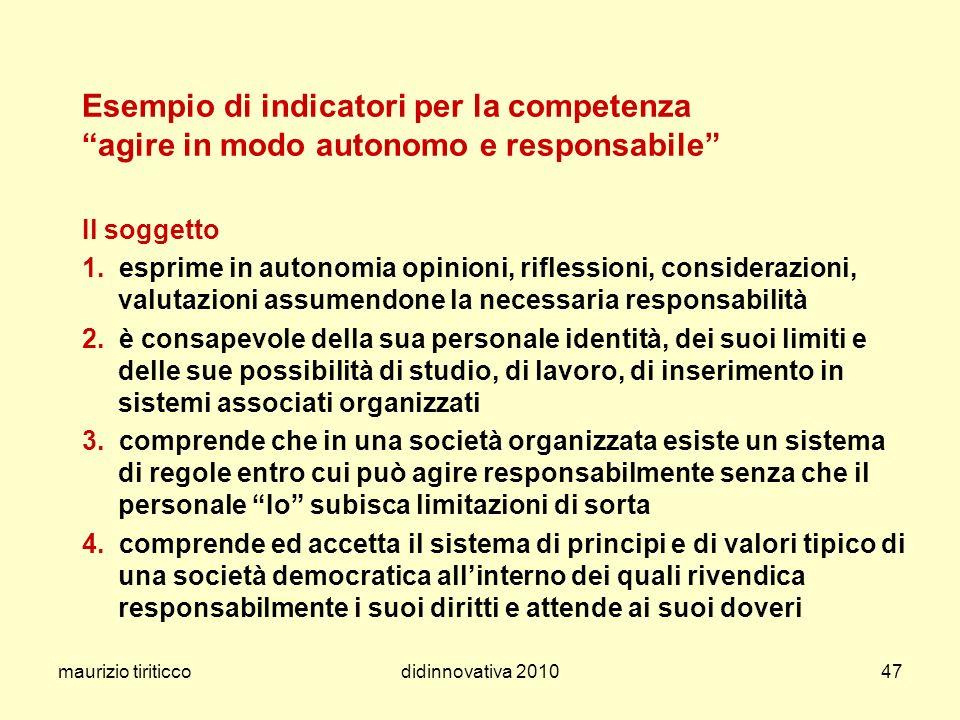 maurizio tiriticcodidinnovativa 201047 Esempio di indicatori per la competenza agire in modo autonomo e responsabile Il soggetto 1. esprime in autonom