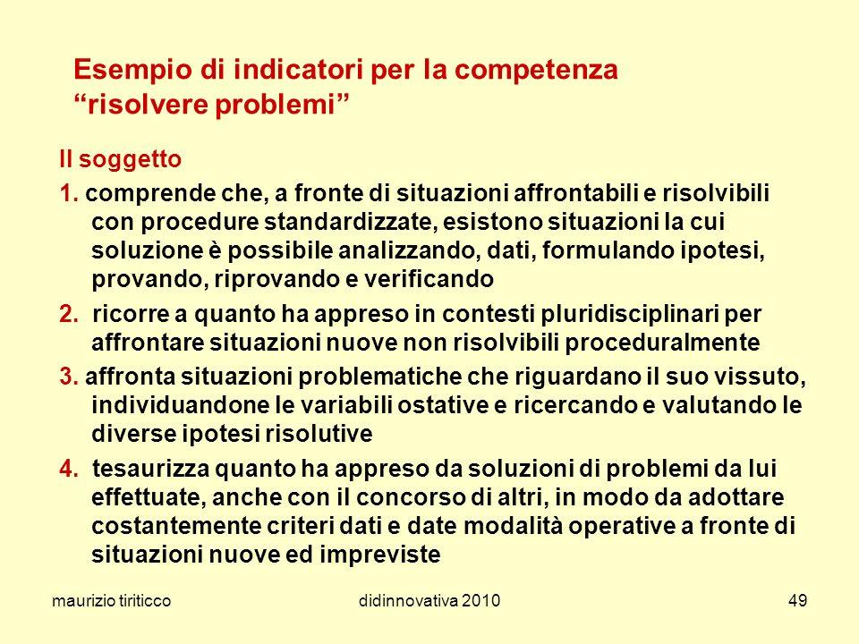 maurizio tiriticcodidinnovativa 201049 Esempio di indicatori per la competenza risolvere problemi Il soggetto 1. comprende che, a fronte di situazioni