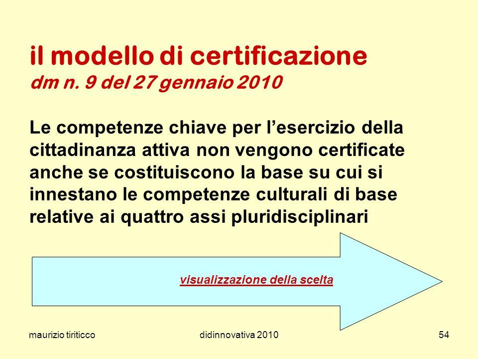 maurizio tiriticcodidinnovativa 201054 il modello di certificazione dm n. 9 del 27 gennaio 2010 Le competenze chiave per lesercizio della cittadinanza