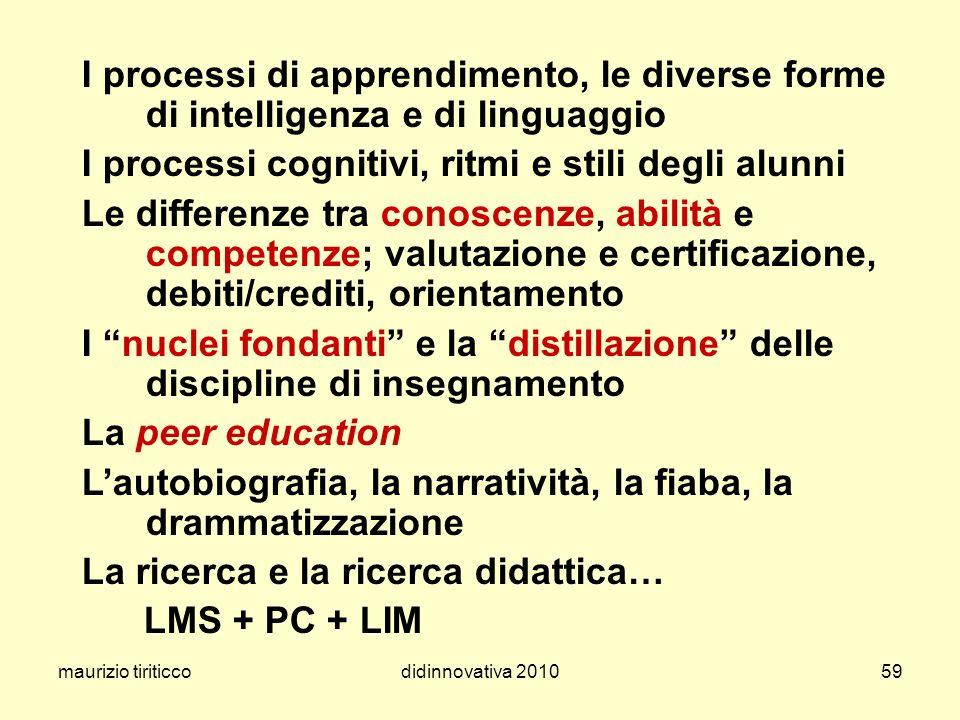maurizio tiriticcodidinnovativa 201059 I processi di apprendimento, le diverse forme di intelligenza e di linguaggio I processi cognitivi, ritmi e sti