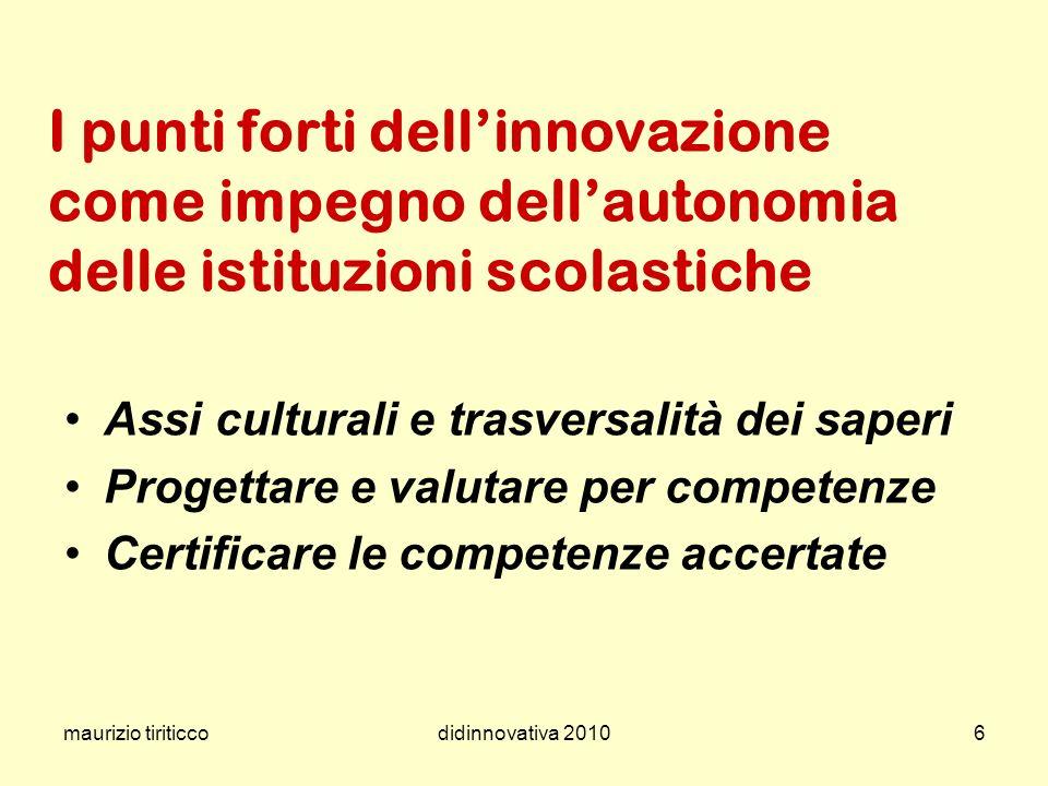 maurizio tiriticcodidinnovativa 20106 I punti forti dellinnovazione come impegno dellautonomia delle istituzioni scolastiche Assi culturali e trasvers