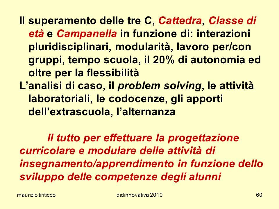 maurizio tiriticcodidinnovativa 201060 Il superamento delle tre C, Cattedra, Classe di età e Campanella in funzione di: interazioni pluridisciplinari,