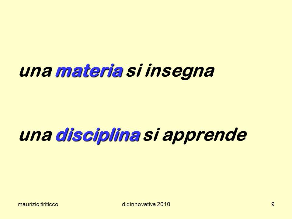 maurizio tiriticcodidinnovativa 20109 materia disciplina una materia si insegna una disciplina si apprende