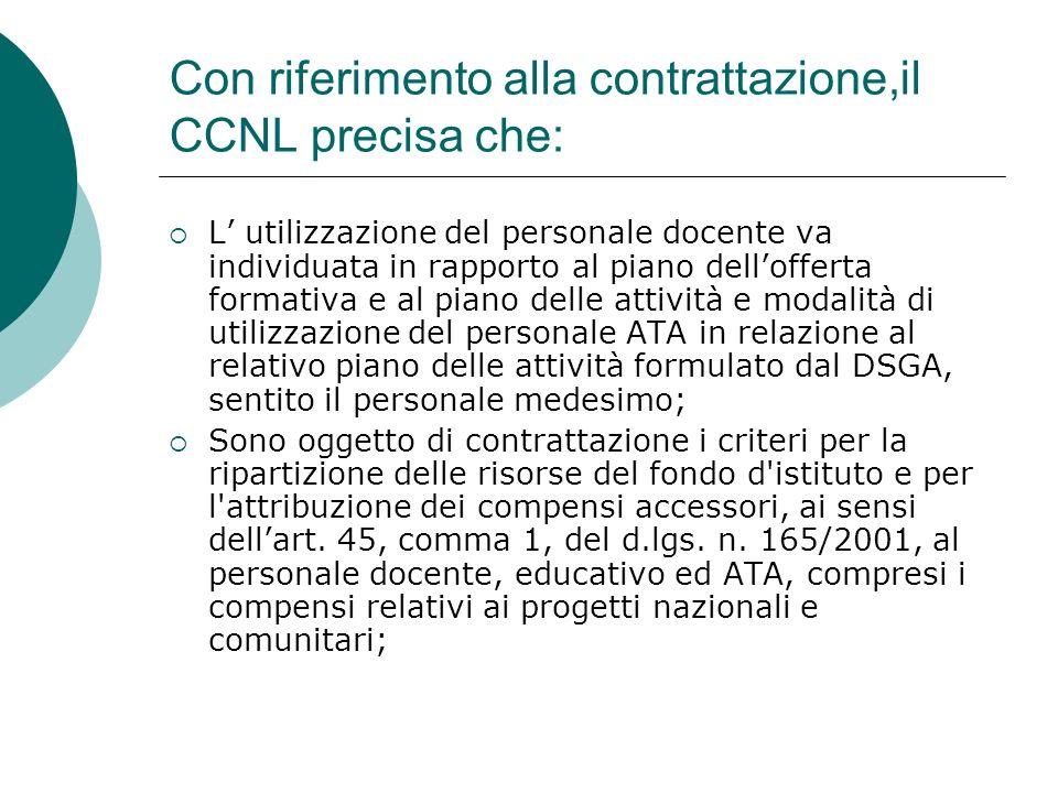 Con riferimento alla contrattazione,il CCNL precisa che: L utilizzazione del personale docente va individuata in rapporto al piano dellofferta formati