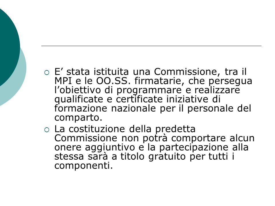 E stata istituita una Commissione, tra il MPI e le OO.SS. firmatarie, che persegua lobiettivo di programmare e realizzare qualificate e certificate in