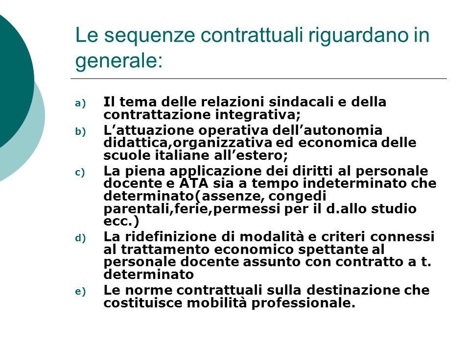 Le sequenze contrattuali riguardano in generale: a) Il tema delle relazioni sindacali e della contrattazione integrativa; b) Lattuazione operativa del