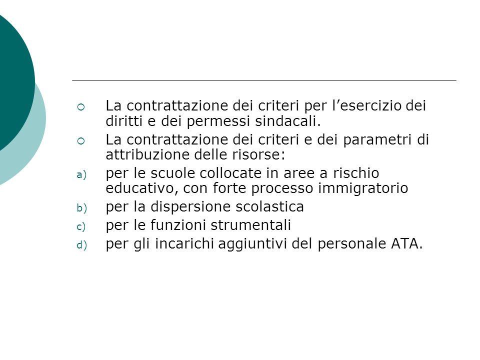 La contrattazione dei criteri per lesercizio dei diritti e dei permessi sindacali. La contrattazione dei criteri e dei parametri di attribuzione delle