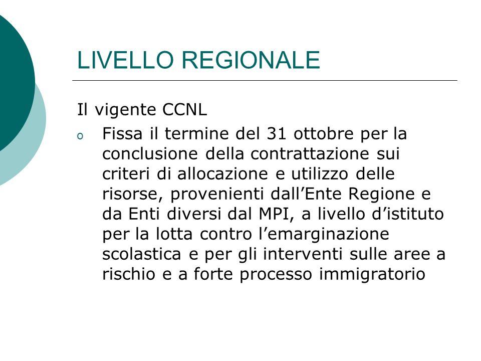 LIVELLO REGIONALE Il vigente CCNL o Fissa il termine del 31 ottobre per la conclusione della contrattazione sui criteri di allocazione e utilizzo dell
