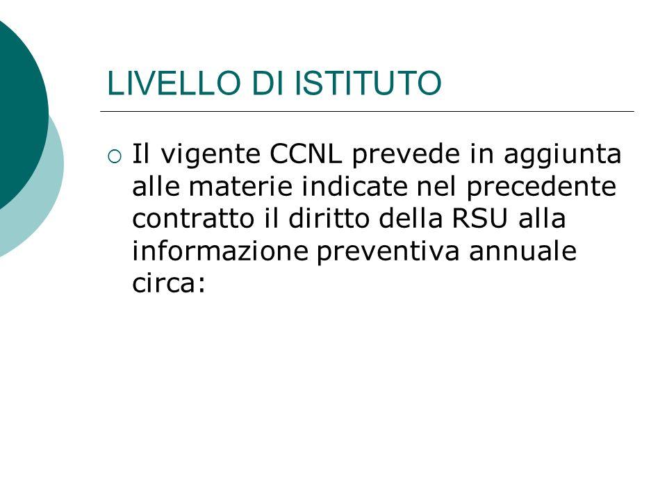 LIVELLO DI ISTITUTO Il vigente CCNL prevede in aggiunta alle materie indicate nel precedente contratto il diritto della RSU alla informazione preventiva annuale circa: