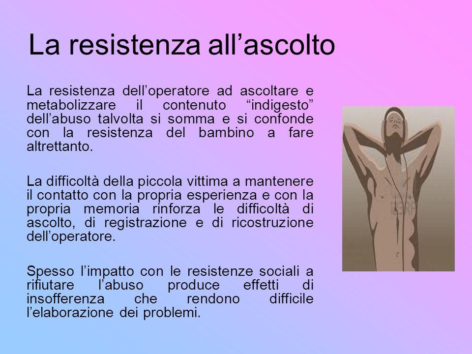 La resistenza allascolto La resistenza delloperatore ad ascoltare e metabolizzare il contenuto indigesto dellabuso talvolta si somma e si confonde con
