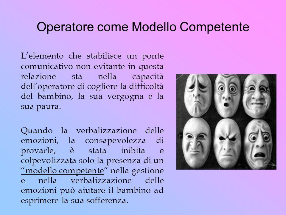 Operatore come Modello Competente Lelemento che stabilisce un ponte comunicativo non evitante in questa relazione sta nella capacità delloperatore di