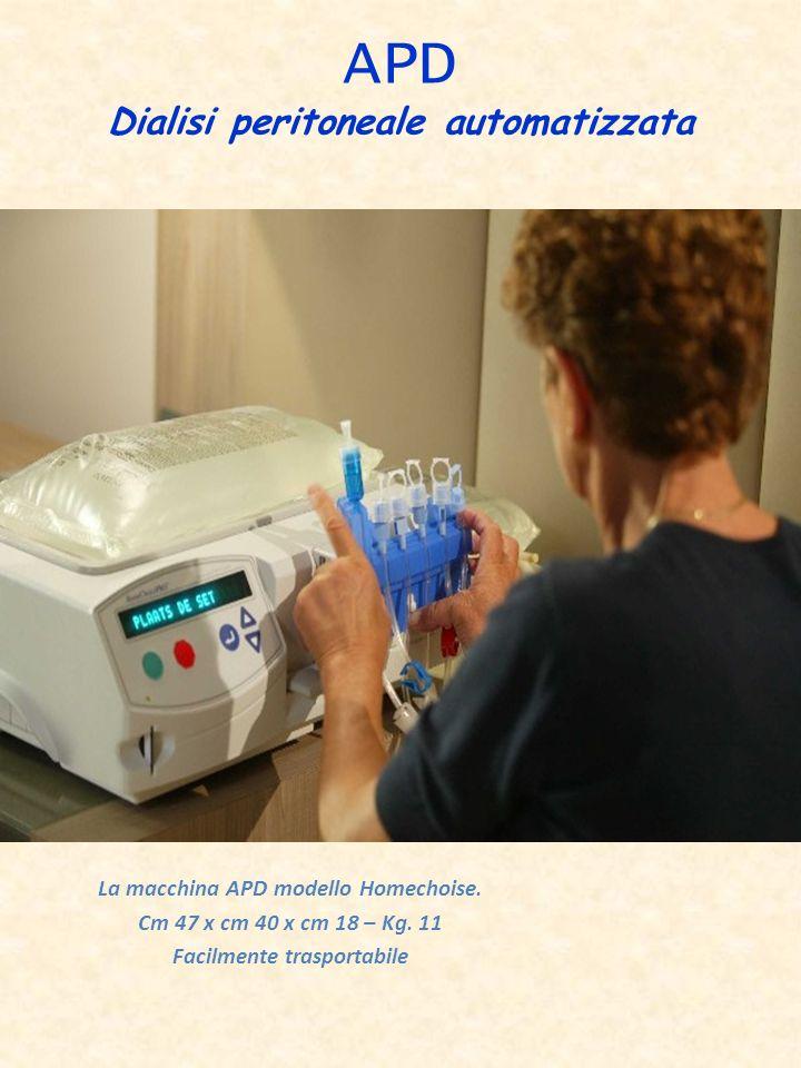 APD Dialisi peritoneale automatizzata La macchina APD modello Homechoise. Cm 47 x cm 40 x cm 18 – Kg. 11 Facilmente trasportabile