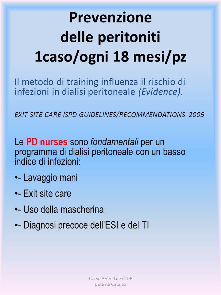 Prevenzione delle peritoniti 1caso/ogni 18 mesi/pz Il metodo di training influenza il rischio di infezioni in dialisi peritoneale (Evidence). EXIT SIT