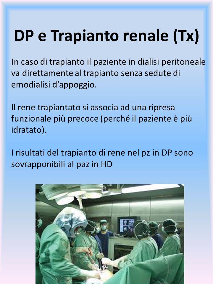 In caso di trapianto il paziente in dialisi peritoneale va direttamente al trapianto senza sedute di emodialisi dappoggio. Il rene trapiantato si asso