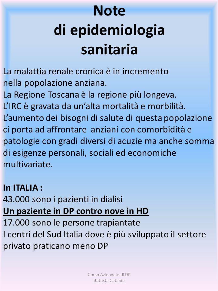 Note di epidemiologia sanitaria La malattia renale cronica è in incremento nella popolazione anziana. La Regione Toscana è la regione più longeva. LIR
