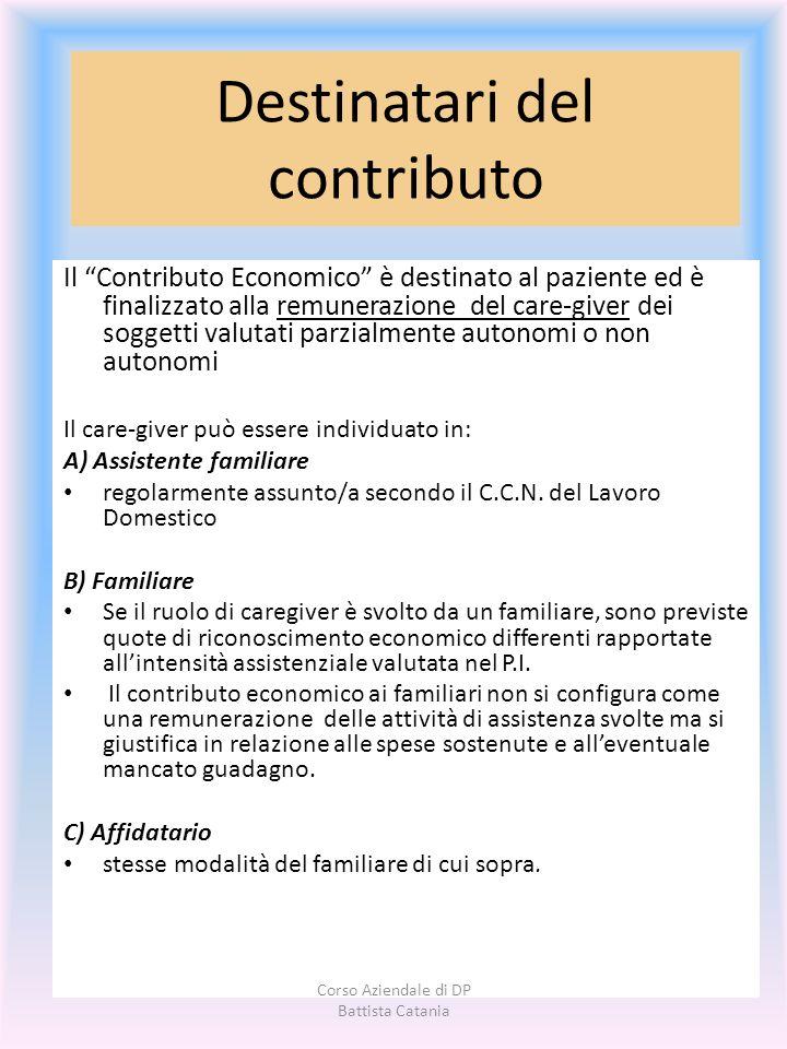 Destinatari del contributo Il Contributo Economico è destinato al paziente ed è finalizzato alla remunerazione del care-giver dei soggetti valutati pa