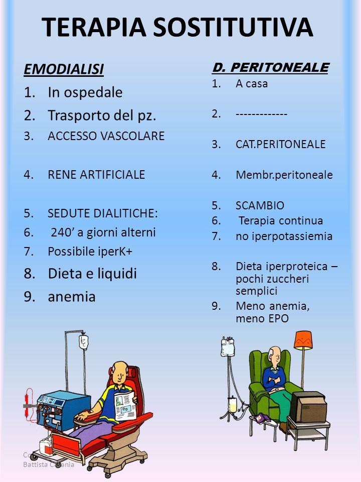 Corso Aziendale di DP Battista Catania TERAPIA SOSTITUTIVA EMODIALISI 1.In ospedale 2.Trasporto del pz. 3.ACCESSO VASCOLARE 4.RENE ARTIFICIALE 5.SEDUT