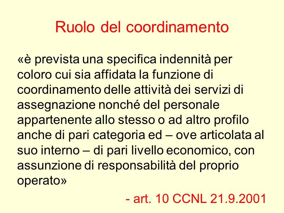 Ruolo del coordinamento «è prevista una specifica indennità per coloro cui sia affidata la funzione di coordinamento delle attività dei servizi di ass