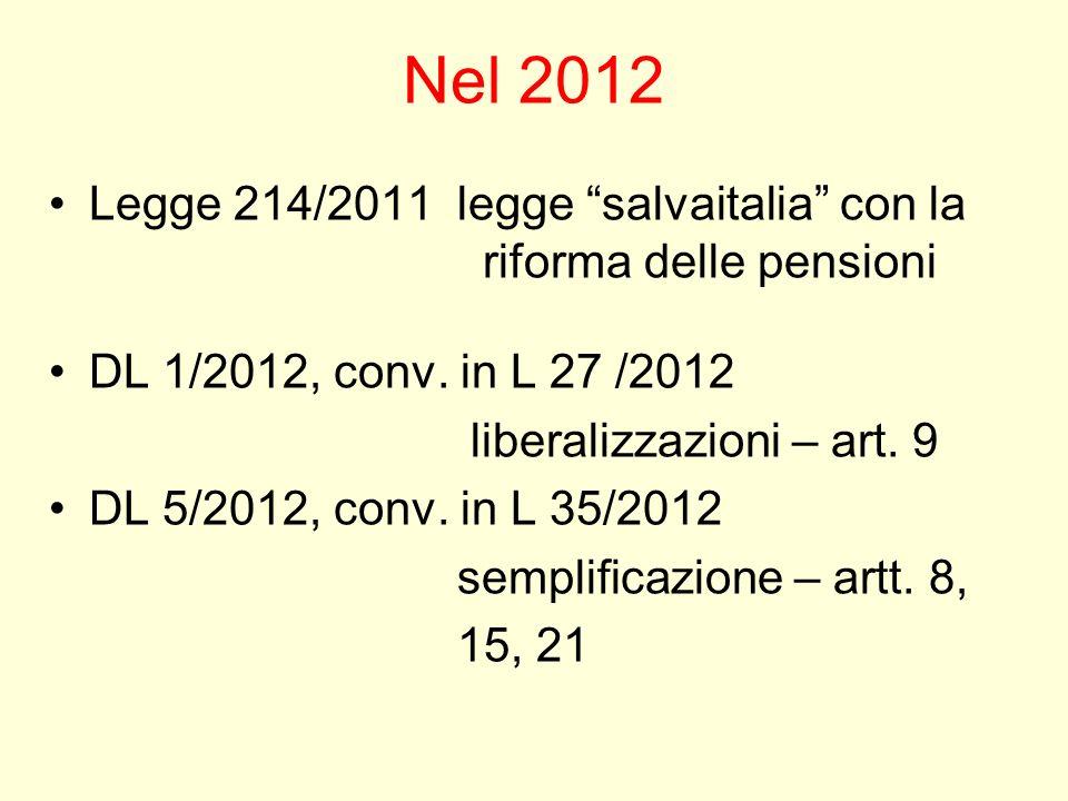 Nel 2012 Legge 214/2011 legge salvaitalia con la riforma delle pensioni DL 1/2012, conv. in L 27 /2012 liberalizzazioni – art. 9 DL 5/2012, conv. in L