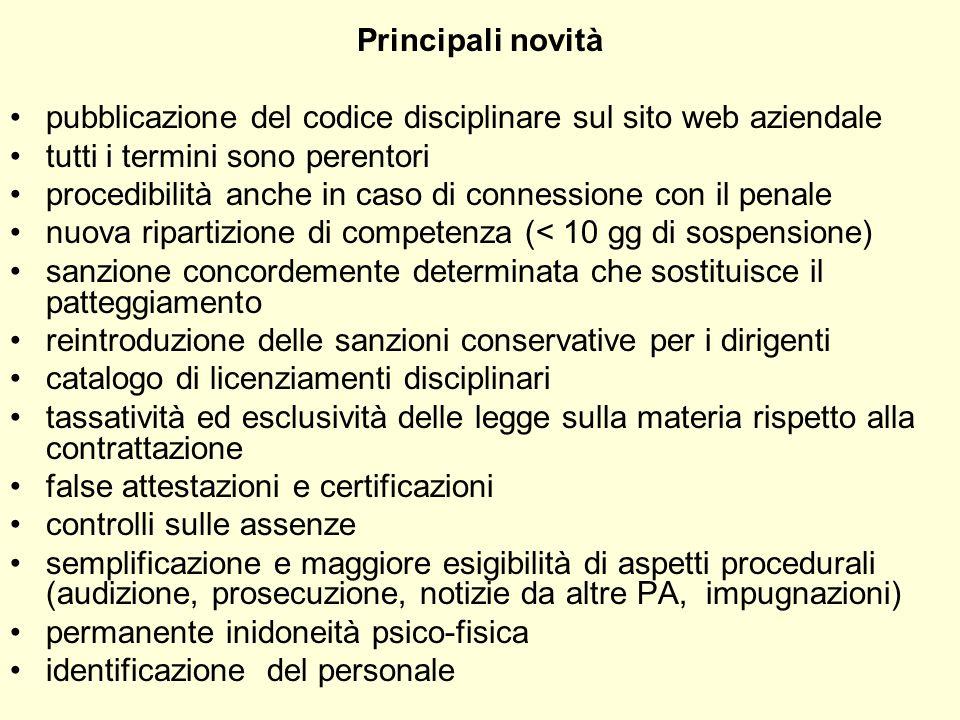 Principali novità pubblicazione del codice disciplinare sul sito web aziendale tutti i termini sono perentori procedibilità anche in caso di connessio