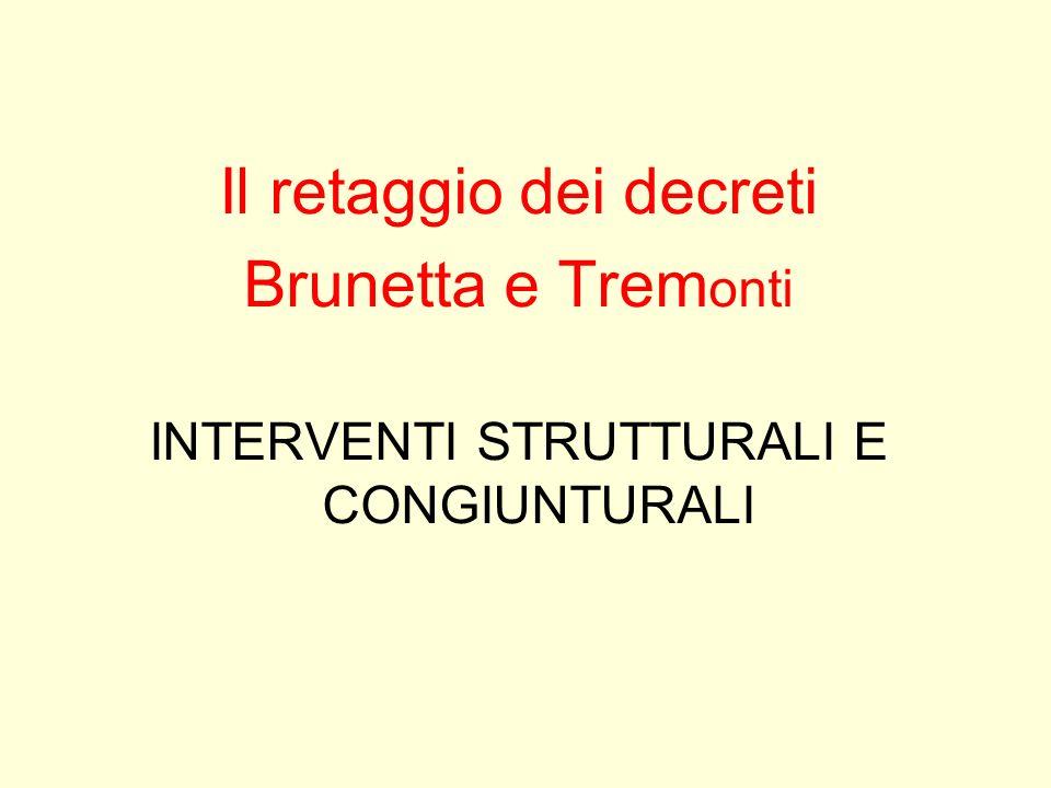 Il retaggio dei decreti Brunetta e Trem onti INTERVENTI STRUTTURALI E CONGIUNTURALI