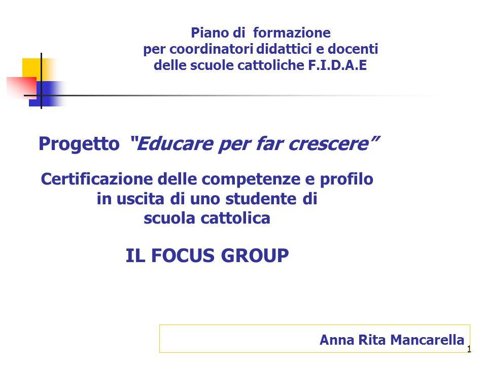 1 Anna Rita Mancarella Progetto Educare per far crescere Certificazione delle competenze e profilo in uscita di uno studente di scuola cattolica IL FO
