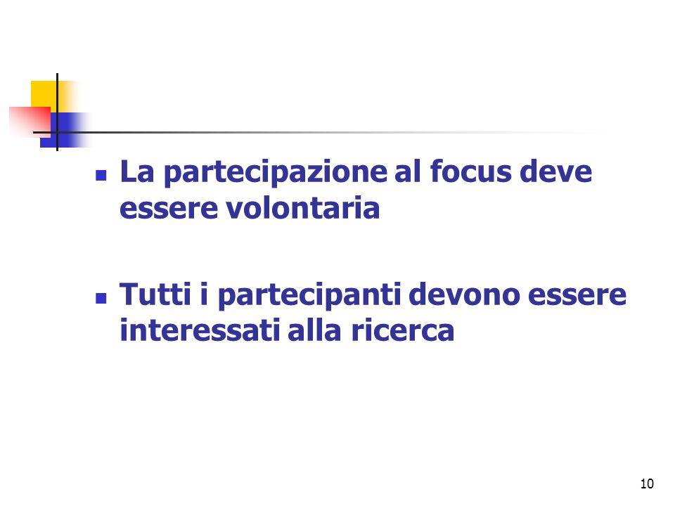 10 La partecipazione al focus deve essere volontaria Tutti i partecipanti devono essere interessati alla ricerca