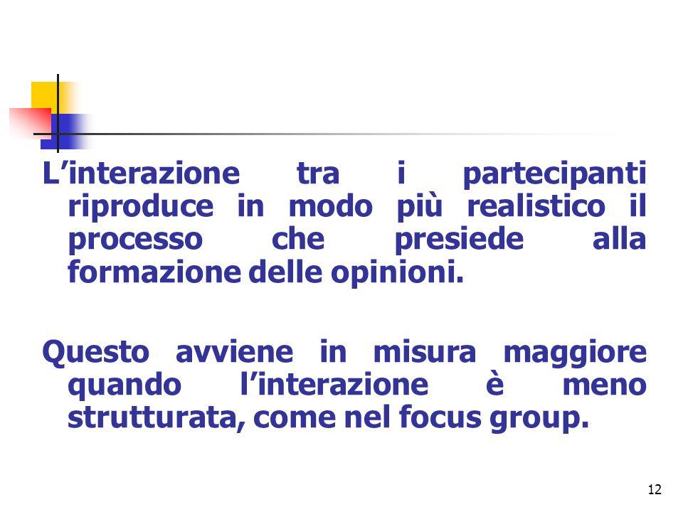 12 Linterazione tra i partecipanti riproduce in modo più realistico il processo che presiede alla formazione delle opinioni. Questo avviene in misura
