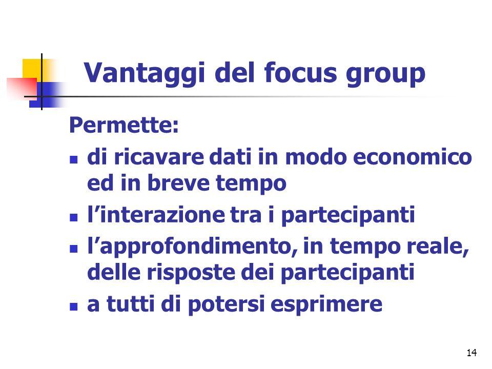 14 Vantaggi del focus group Permette: di ricavare dati in modo economico ed in breve tempo linterazione tra i partecipanti lapprofondimento, in tempo