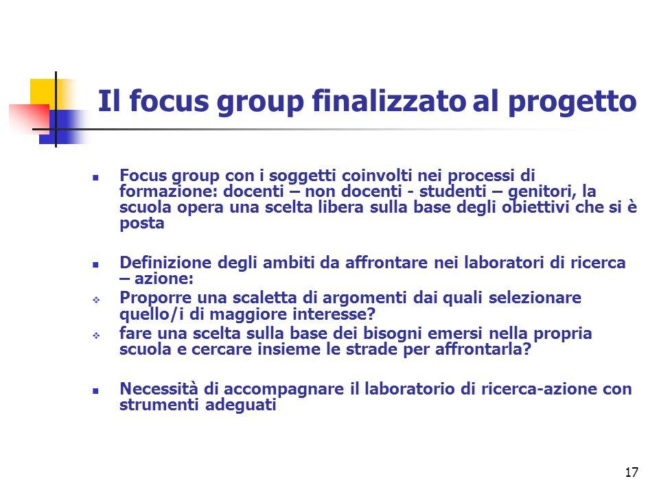 17 Il focus group finalizzato al progetto Focus group con i soggetti coinvolti nei processi di formazione: docenti – non docenti - studenti – genitori