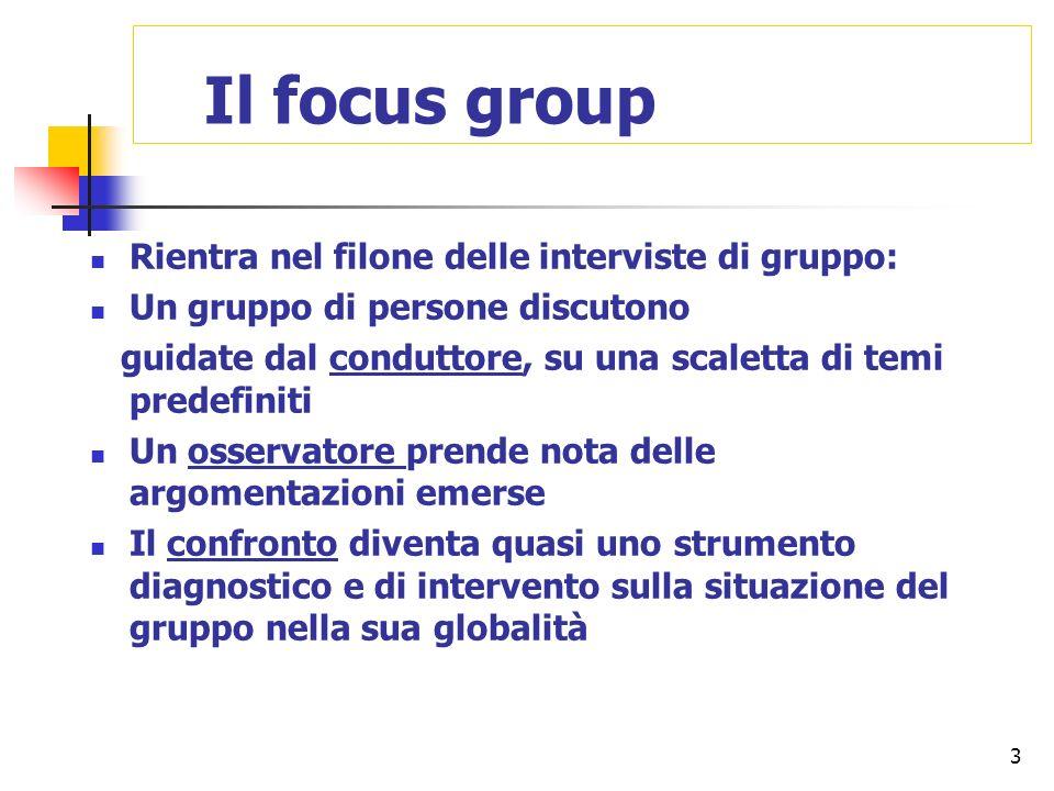3 Il focus group Rientra nel filone delle interviste di gruppo: Un gruppo di persone discutono guidate dal conduttore, su una scaletta di temi predefi