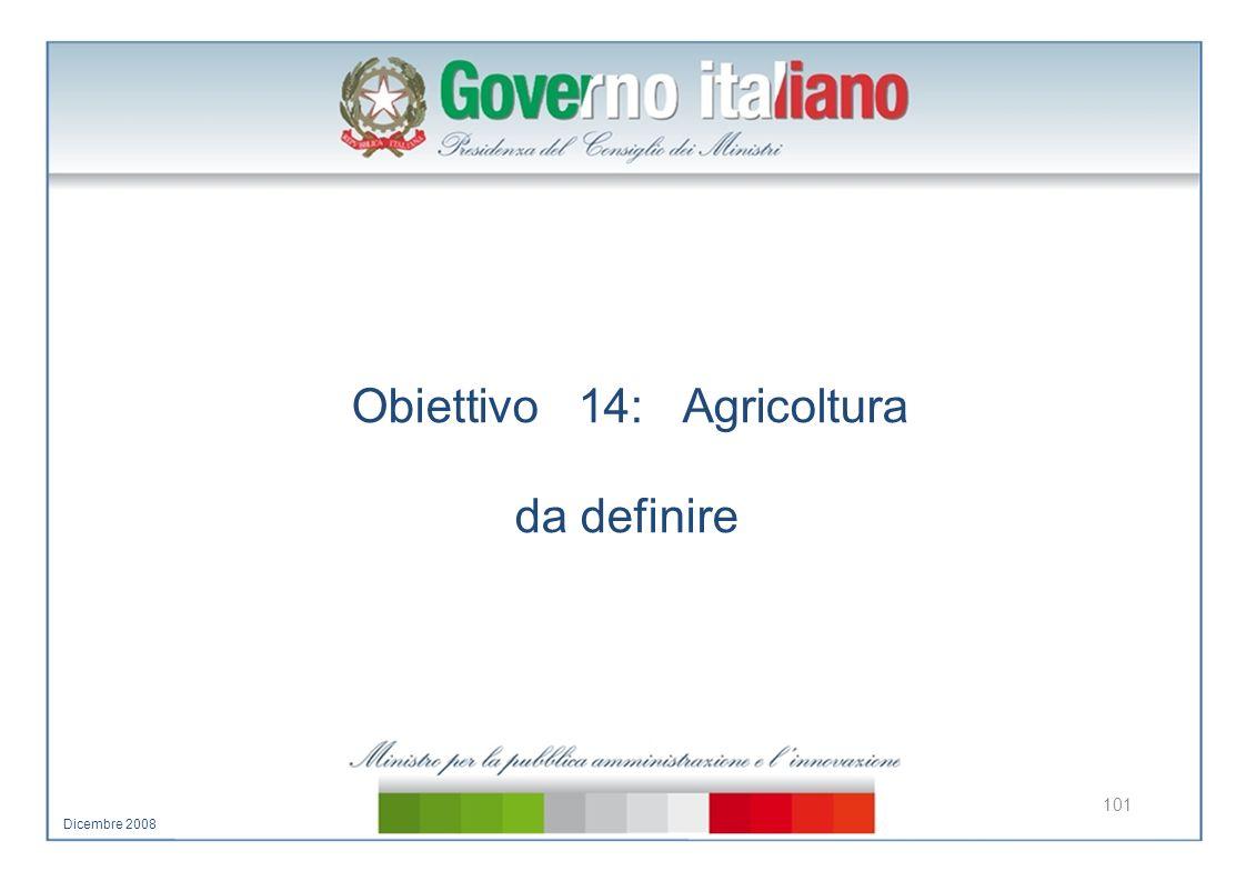 Obiettivo 14: Agricoltura da definire 101 Dicembre 2008
